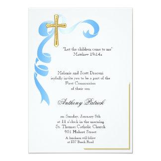 Blaues Band-Goldkreuz-Kommunion 12,7 X 17,8 Cm Einladungskarte