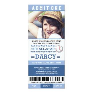 Blaues Baseball-Baby-Duschen-Party lädt ein 10,2 X 23,5 Cm Einladungskarte