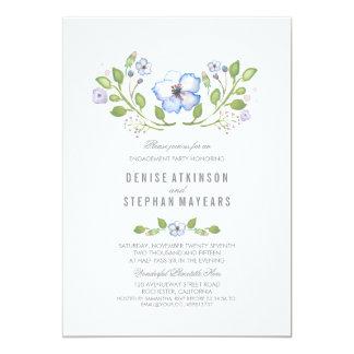 Blaues Blumenwatercolor-Verlobungs-Party 12,7 X 17,8 Cm Einladungskarte