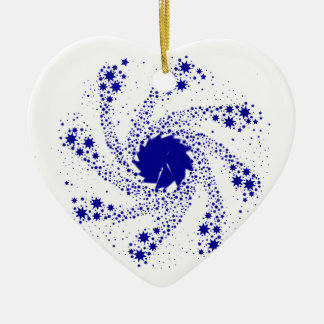 Blaues Button-Rad Keramik Ornament