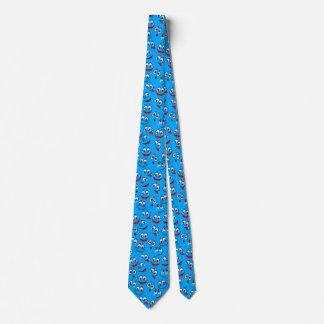 Blaues Cartoon-Gesichts-Muster Personalisierte Krawatten