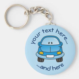 Blaues Cartoonauto Schlüsselanhänger