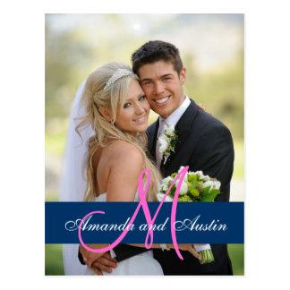 Blaues Damast-Hochzeits-Foto danken Ihnen Postkarte