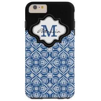 Blaues Damast-Muster-Schwarz-Monogramm Tough iPhone 6 Plus Hülle