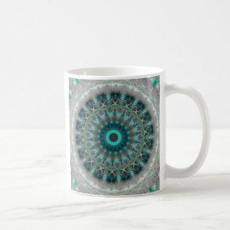 Blaues ErdMandala-Kaleidoskopmuster Tasse