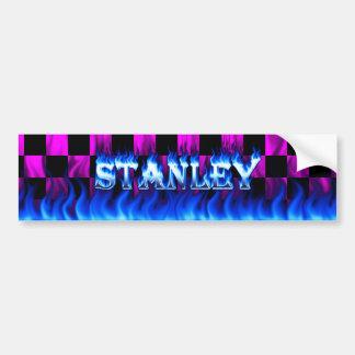 Blaues Feuer Stanley und Autoaufkleber
