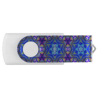 Blaues Fraktal-Muster ~ personalisiertes SIMON ~ USB Stick