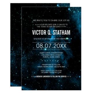 Blaues Galaxie-Bar Mitzvah Party laden ein Karte