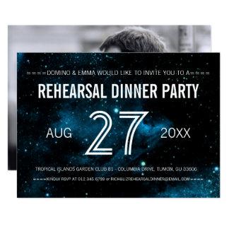 Blaues Galaxie-Foto-Hochzeits-Proben-Abendessen 12,7 X 17,8 Cm Einladungskarte