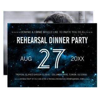Blaues Galaxie-Foto-Hochzeits-Proben-Abendessen Karte