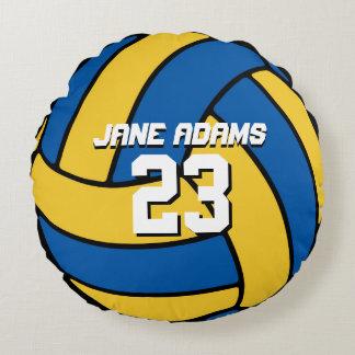 Blaues gelbes Volleyball-Sport-Team-rundes Kissen Rundes Kissen