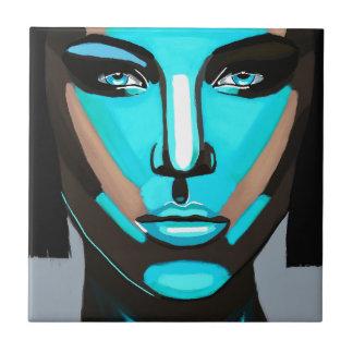 Blaues Gesicht Kleine Quadratische Fliese
