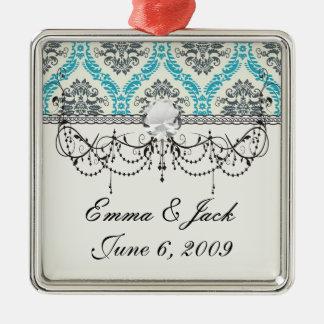 blaues Grau und eleganter Sahnedamast Silbernes Ornament