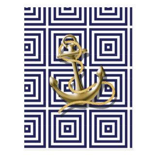 Blaues griechisches Muster des Strandes adretter Postkarten
