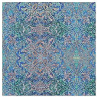 Blaues Grün-abstraktes Blumenmuster Stoff