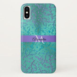 Blaues Grün-lila Musiknoten iPhone X Kasten