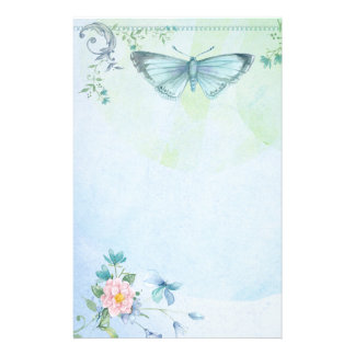 Blaues Grün-Schmetterlings-Blumen-hübsches Briefpapier