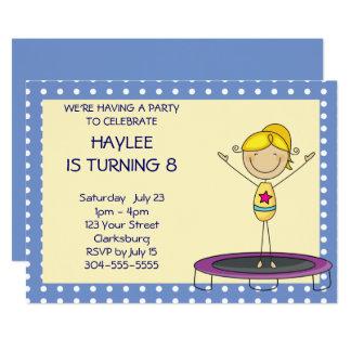Blaues Gymnastik-Trampoline-Geburtstags-Party Karte