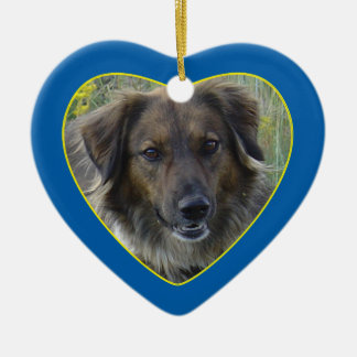 Blaues Herz-Haustier-ErinnerungsFoto-Schablone Keramik Herz-Ornament