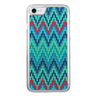 Blaues Ikat Zickzack geometrisches Carved iPhone 8/7 Hülle