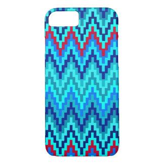 Blaues Ikat Zickzack geometrisches iPhone 8/7 Hülle