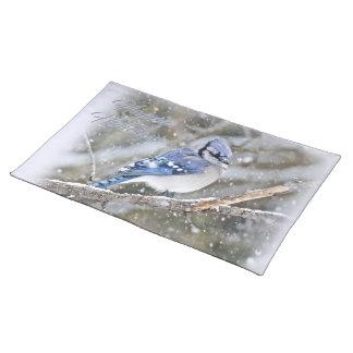Blaues Jay im Schnee-Weihnachtsfeiertag Tischset