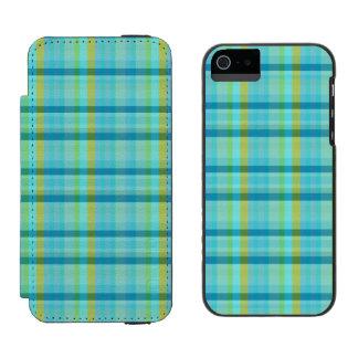 Blaues kariertes durch Shirley Taylor Incipio Watson™ iPhone 5 Geldbörsen Hülle