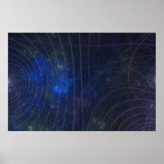 blaues Karte fractle Poster