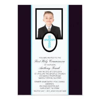 Blaues Kreuz mit Foto-Kommunions-Einladung 12,7 X 17,8 Cm Einladungskarte