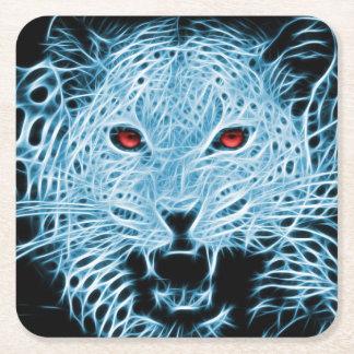 Blaues Leopard-Fraktal Digital Rechteckiger Pappuntersetzer