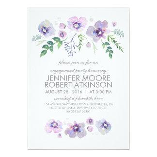 Blaues lila Watercolor-Blumen-Verlobungs-Party 12,7 X 17,8 Cm Einladungskarte