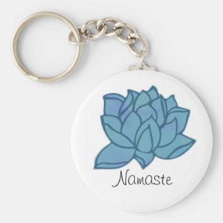 Blaues Lotus Namaste Keychain Schlüsselanhänger