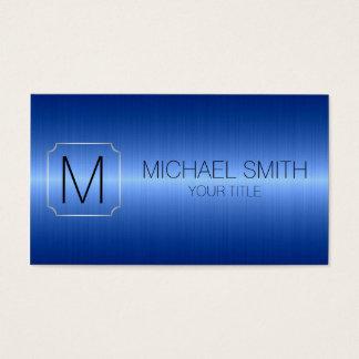 Blaues LuxusEdelstahl-Metallmonogramm Visitenkarte