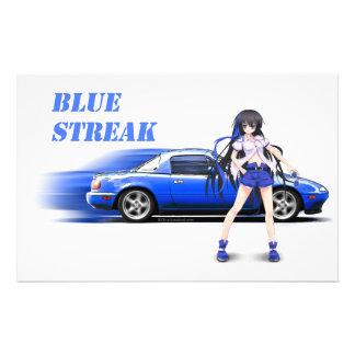 Blaues Miata - mit Animemädchen Briefpapier