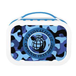 Blaues Militär tarnt mit Granate Brotdose