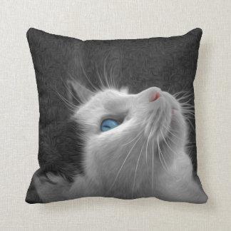 Blaues mit Augen Katzen-Foto Kissen