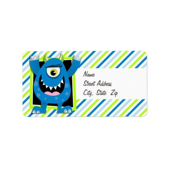 Blaues Monster;  Grüne, weiße Neonstreifen Adressaufkleber