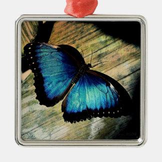 Blaues Morpho Schmetterlings-Insekten-hübsche Silbernes Ornament
