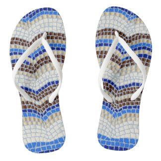 Blaues Mosaik-erwachsene dünne Bügel drehen Badesandalen