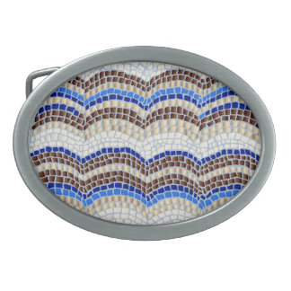 Blaues Mosaik-ovale Gürtelschnalle