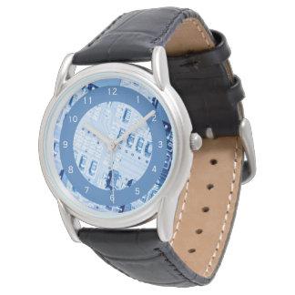 Blaues Motherboard-modernes Muster Uhr