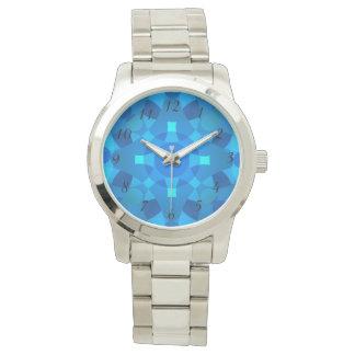 Blaues Neonmosaik-psychedelische Armbanduhr