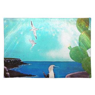 Blaues Ozean-Fliegen-Vogel-Malen Stofftischset
