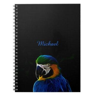 Blaues Papageien-Fraktal Digital Notizblock