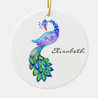 Blaues Pfau-Aquarell Keramik Ornament
