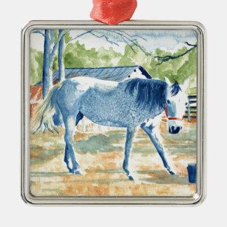Blaues Pferd Silbernes Ornament