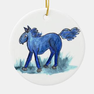 Blaues Pferd - wunderliches Aquarell Rundes Keramik Ornament