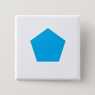 Blaues Polygon Quadratischer Button 5,1 Cm