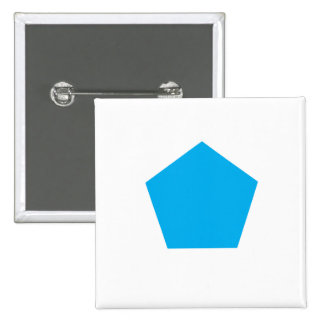 Blaues Polygon Quadratischer Button 5,1 Cm