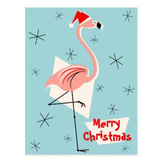 Blaues Porträt froher Weihnachten Flamingo-Sankt Postkarte